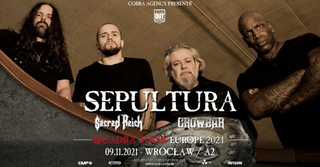 Sepultura wystąpi we Wrocławiu! Sacred Reich i Crowbar w roli gości specjalnych